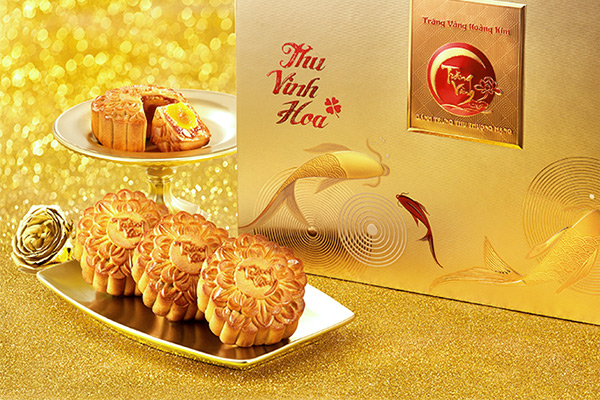 Bánh trung thu trăng vàng hoàng kim vinh hoa đỏ vàng